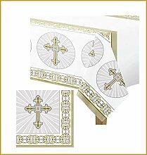 FesteFeiern Dekoration Tischdeko Set Konfirmation | Tischdecke und Servietten | Partydeko zur Konfirmation