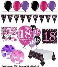 FesteFeiern Dekoration zum 18 Geburtstag   komplette Geburtstags Deko 18 Jahre   31 Teile pink schwarz violett mit Luftballon   Party Deko Set happy birthday 18