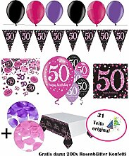 FesteFeiern Dekoration zum 50 Geburtstag   komplette Geburtstags Deko 50 Jahre   31 Teile pink schwarz violett mit Luftballon   Party Deko Set happy birthday 50