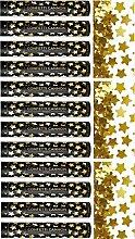 FesteFeiern Party Popper I 12 Teile Konfetti Shooter Sterne gold metallic 40cm I Silvester Party Valentinstag Feiern Liebe Hochzei