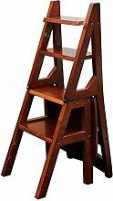 Fester hölzerner faltender Treppenleiter-Stuhl-Schritt-Schemel-Haushalts-Multifunktions hölzerne Kreativität (Farbe : Braun)