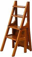 Fester hölzerner faltender Treppenleiter-Stuhl-Schritt-Schemel-Haushalts-Multifunktions hölzerne Kreativität (Farbe : Honigfarbe)