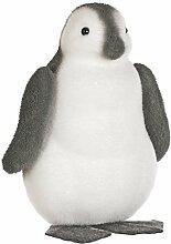 Festive Productions beflockt Pinguin Dekoration, Schwarz/Weiß, Microfaser, grau/weiß, 26 x 20.5 x 31 cm