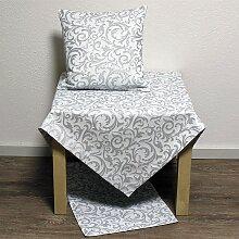 festliche runde Tischdecke Floral Ornaments weiß
