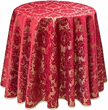 Festliche Tischdecke, rund, Jacquard, rot-gold, Rund, ca. 170 cm