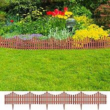 Festnight 17er Set Dekorativer Gartenzaun Rasenzaun Beeteinfassung Beetumrandung Gesamtlänge 10 m Braun