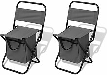 Festnight 2 Stücke Campinghocker Hocker Camping-Stuhl Klapphocker Klappstuhl 27x33x58cm Grau