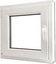 Festnight 3-in-1 PVC Drehkippfenster Kippfenster Kellerfenster mit Dreifach Verglast, Rechtsseitig Griff (rechte Seite) 600x600mm