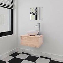 Festnight 3-tlg. Badezimmermöbel-Set Badmöbel Set inkl. Waschbeckenschrank Spiegel Waschbecken Beige
