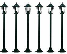 Festnight 6-er Set Gartenlaternen Gartenleuchte Aussenleuchte Garten Wegbeleuchtung Höhe 110 cm Dunkelgrün
