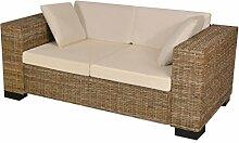 Festnight 7-TLG. 2-Sitzer Sofa Set aus Echtes