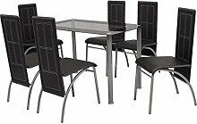 Festnight 7tlg. Set Essgruppe 1 Tisch + 6 Stühle