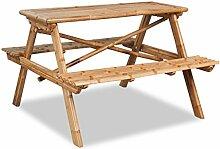 Festnight Bambus Picknicktisch Campingtisch mit 2 Bänken Sitzgarnitur Outdoor Camping-Möbel