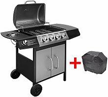 Festnight BBQ Gasgrill Barbecue-Grill Grillwagen