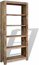 Festnight Bücherregal Bücherschrank mit 5 Fächer Massives Akazienholz 80 x 30 x 180 cm
