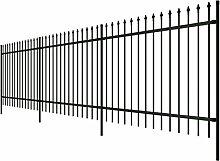 Festnight Dekorativer Zaun Stahl Gartenzaun Metallzaun Gespitzt-Stil Höhe 150cm Verzierungen für Garten Hof Schwarz