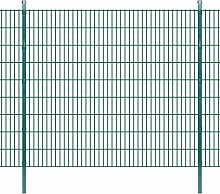 Festnight Doppelstabmattenzaun Gartenzaun & Pfosten 2008x1830mm Zaunpaneel Metallzaun Gesamtlänge 6m Zaunanlage Grün