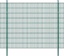 Festnight Doppelstabmattenzaun Gartenzaun & Pfosten 2008x1830mm Zaunpaneel Metallzaun Gesamtlänge 24m Zaunanlage Grün