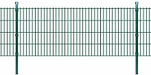 Festnight Doppelstabmattenzaun Gartenzaun & Pfosten Stahlzaun 2008x830mm Zaunpaneel Zaunanlage Gesamtlänge 6m Grün