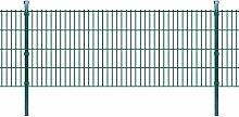 Festnight Doppelstabmattenzaun Gartenzaun & Pfosten Stahlzaun 2008x830mm Zaunpaneel Zaunanlage Gesamtlänge 4m Grün