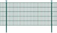 Festnight Doppelstabmattenzaun Metallzaun Gartenzaun & Pfosten 2008x1030mm Zaunpaneel Gesamtlänge 26 m Grün