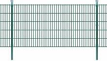 Festnight Doppelstabmattenzaun Metallzaun Gartenzaun & Pfosten 2008x1030mm Zaunpaneel Gesamtlänge 6 m Grün