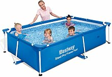 Festnight Eckiges Schwimmbad Pool Schwimmbecken Familienpool Aufstellpool 239x150x58cm Stahlrahmenpool