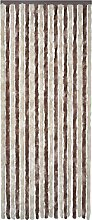 Festnight Flauschvorhang Türvorhang Insektenschutz aus Polypropylen Chenille Verstellbar Breite und Länge 90x220cm Braun-Beige