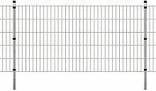 Festnight Garten Doppelstabmattenzaun Verzinkte Gartenzaun & Pfosten Metallzaun Zaunpaneel 2008x1030mm 2m Silberfarbe