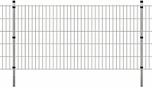 Festnight Garten Doppelstabmattenzaun Verzinkte Gartenzaun & Pfosten Metallzaun Zaunpaneel 2008x1030mm 40m Silberfarbe