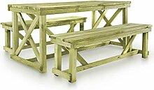 Festnight Garten-Essgruppe 3-TLG. Holz Esstisch