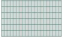 Festnight Garten Zaun Doppelstabmattenzaun Metall Gartenzaun aus Vorverzinkter Stahl Zaunpaneel 2008x1230 mm Grün