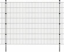 Festnight Garten Zaunset Doppelstabmattenzaun Metall Gartenzaun & Pfosten Set Zaunpaneel 2008x1630mm Gesamtlänge 12 Meter Silberfarbe