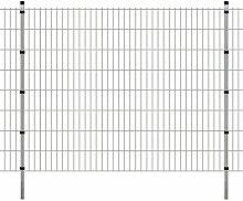 Festnight Garten Zaunset Doppelstabmattenzaun Metall Gartenzaun & Pfosten Set Zaunpaneel 2008x1630mm Gesamtlänge 6 Meter Silberfarbe