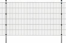 Festnight Garten Zaunset Doppelstabmattenzaun Stahl Gartenzaun & Pfosten Set Zaunpaneel 2008x1230mm Gesamtlänge 26m Silberfarbe