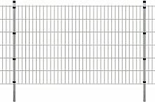 Festnight Garten Zaunset Doppelstabmattenzaun Stahl Gartenzaun & Pfosten Set Zaunpaneel 2008x1230mm Gesamtlänge 34m Silberfarbe