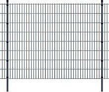 Festnight Garten Zaunset Doppelstabmattenzaun Vorverzinkt Metall Gartenzaun & Pfosten Set Zaunpaneel 2008x1630mm Gesamtlänge 6m Grau