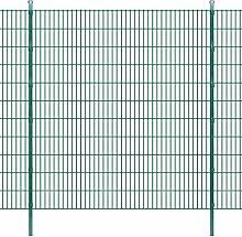 Festnight Garten Zaunset Stahl Doppelstabmattenzaun Gartenzaun & Pfosten Set Metallzaun Zaunpaneel 2008x2230mm Gesamtlänge 12m Grün
