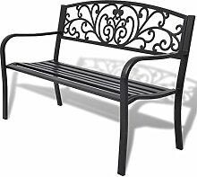 Festnight Gartenbank Garten Sitzbank Bank Parkbank aus Stahl und Gusseisen 127 x 60 x 85 cm Platz für bis zu 2 Personen - Schwarz