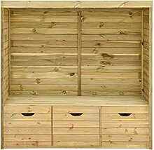 Festnight Gartenlaube-Bank mit 3 Schubladen 170 x