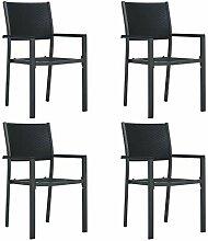 Festnight Gartenstühle 4 STK. Schwarz Kunststoff
