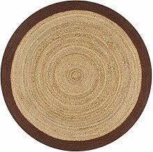 Festnight- Handgefertigt Teppich Jute mit Braunem