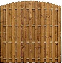 Festnight Kiefernholz Sichtschutzzaun Zaunfeld Element Gartenzaun aus Holz Vertikal Bogendesign 180 x (165 -180) cm