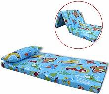 Festnight Kinder Klappmatratze Faltmatratze Reisebettmatratze mit Kissen Klappbar Kinderbettmatratze 120x60x6cm Flugzeugmuster