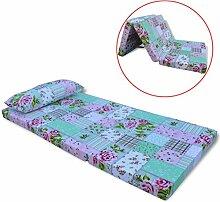 Festnight Kinder Klappmatratze Faltmatratze Reisebettmatratze mit Kissen Klappbar Kinderbettmatratze 120x60x6cm Blumenmuster