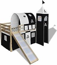 Festnight Kinderhochbett Hochbett aus Holz mit Rutsche Vorhang Turm und Leiter Schwarz und Weiß