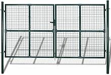 Festnight Maschendrahtzaun Drahtzaun Gartenzaun 289 x 200 cm / 306 x 250 cm Schutz für Garten, Hof und Terrasse
