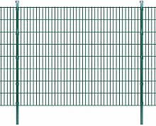 Festnight Metall Doppelstabmattenzaun Gartenzaun & Pfosten Stahlzaun 2008x1630mm Zaunpaneel Gesamtlänge 4m Grün