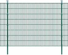 Festnight Metall Doppelstabmattenzaun Gartenzaun & Pfosten Stahlzaun 2008x1630mm Zaunpaneel Gesamtlänge 22m Grün