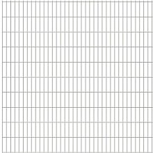 Festnight Metall Doppelstabmattenzaun Gartenzaun Verzinkter Stahl Zaun 2008 x 2030 mm Silberfarben